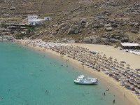 Super Paradise Beach in Mykonos, Greece