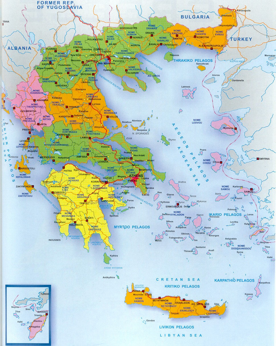 A Map of Greece and the Greek Islands – Greece Tourist Attractions Map